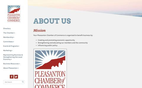 Screenshot of About Page pleasanton.org - About Us - Pleasanton Chamber of Commerce, CA - captured Sept. 28, 2018