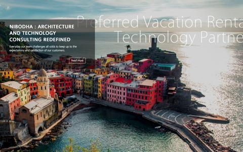 Screenshot of Home Page nibodha.com - Vacation Rental Technology Provider   Nibodha Technologies - captured Aug. 12, 2015