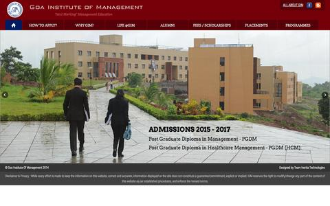 Screenshot of Home Page gim.ac.in - Goa Institute of Management, Ribandar Goa India, India's premier Management  Institute. - captured Oct. 24, 2014