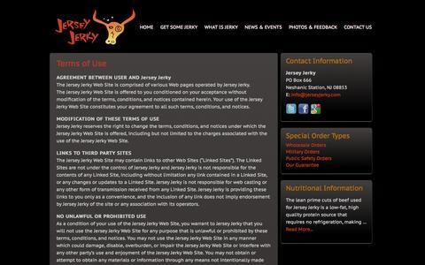 Screenshot of Terms Page jerseyjerky.com - Terms of Use » Jersey Jerky - captured Oct. 6, 2014