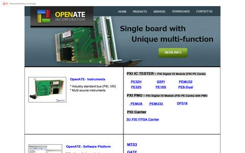 Screenshot of Products Page openate.com - Products : OpenATE - PXI Digital IC Tester, PXI PPMU, 3U PXI FPGA Carrier, IC Testing Software Platform - captured Oct. 7, 2014