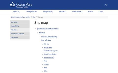 Screenshot of Site Map Page qmul.ac.uk - Site map - Queen Mary University of London - captured March 3, 2018