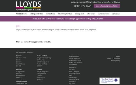 Screenshot of Jobs Page lloydsfittedbedrooms.com - Lloyds Fitted Bedrooms - View our List of Current Vacancies - captured Sept. 29, 2018