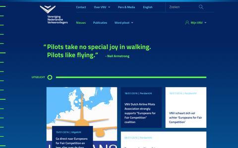 Screenshot of Home Page vnv.nl - Vereniging Nederlandse Verkeersvliegers - captured Jan. 22, 2016