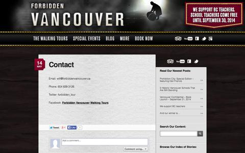 Screenshot of Contact Page forbiddenvancouver.ca - Contact | Forbidden Vancouver Walking Tours - captured Sept. 30, 2014