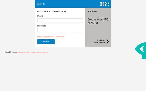 Screenshot of Login Page nfb.ca - Sign in - NFB.ca - captured Feb. 14, 2020