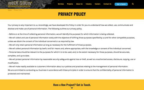 Screenshot of Privacy Page rocksolidstabilization.com - Privacy Policy | Rock Solid Stabilization & Reclamation - captured Oct. 23, 2017