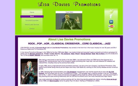 Screenshot of About Page lisadaviespromotions.co.uk - About - captured Sept. 30, 2014