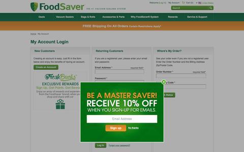 Screenshot of Login Page foodsaver.com - My Account - FoodSaver - captured Jan. 16, 2016