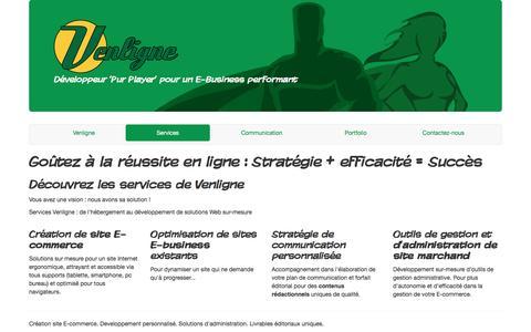 Screenshot of Services Page venligne.ca - Venligne = Développement | Création sites E-commerce | Optimisation Web - captured June 12, 2016