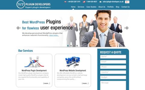 Screenshot of Home Page plugin-developers.co.uk - WordPress Plugin Developer | Development Company UK - captured May 23, 2016