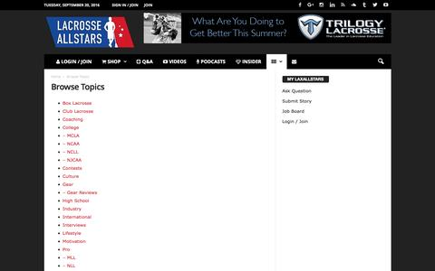 Screenshot of laxallstars.com - Browse Topics - Lacrosse All Stars - captured Sept. 20, 2016