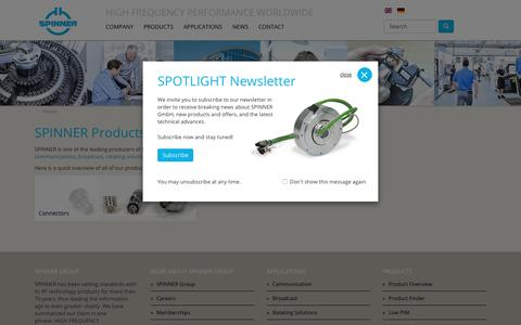 Screenshot of Products Page spinner-group.com - SPINNER Group - Products - captured Sept. 30, 2018