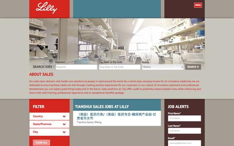 Screenshot of Jobs Page lilly.com - Tianshui Sales Jobs at Lilly - captured Aug. 7, 2017
