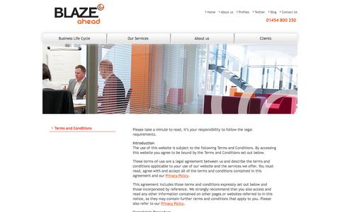 Screenshot of Terms Page blazeahead.co.uk - Terms and Conditions | Blaze Ahead - captured Oct. 5, 2014