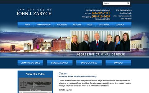 Screenshot of Contact Page johnzarych.com - Contact | Law Offices of John J. Zarych | Northfield, Cape May Court House - captured Oct. 2, 2014
