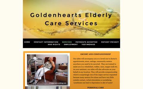 Screenshot of Services Page goldenelderlycare.com - Elderly Care, Home Care, Handicap Assistance: Bronx, NY: Goldenhearts - captured Jan. 31, 2016