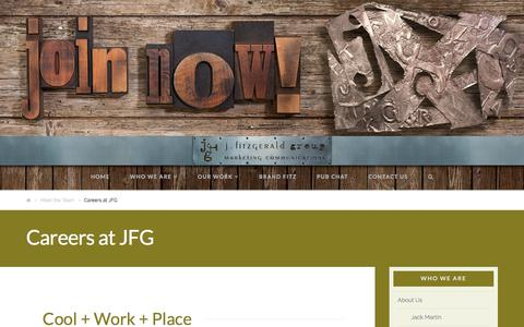 Screenshot of Jobs Page jfitzgeraldgroup.com - Careers | J. Fitzgerald Group | Marketing Communications | Lockport, NY - captured Jan. 15, 2018