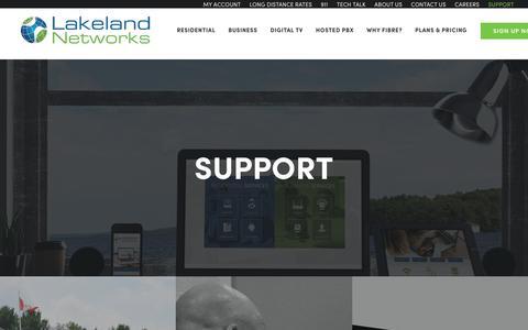 Screenshot of Support Page lakelandnetworks.com - SUPPORT | Lakeland Networks - captured Nov. 4, 2018
