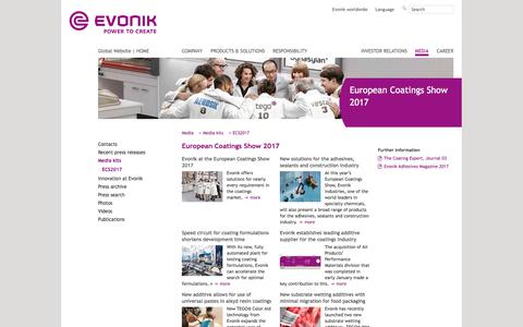 ECS2017 - Evonik Industries - Specialty Chemicals