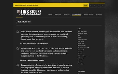 Screenshot of Testimonials Page jinsecure.com - Jins Secure |   Testimonials - captured Oct. 3, 2014