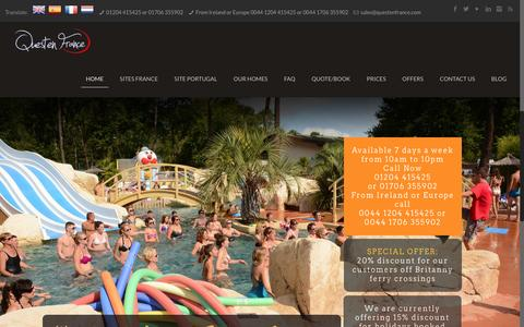 Screenshot of Home Page questenfrance.com - Mobile home holidays in France and PortugalQuesten France - captured March 4, 2016