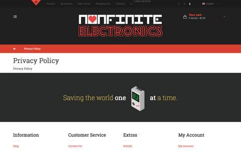 Screenshot of Privacy Page nonelectronics.com captured Nov. 30, 2016