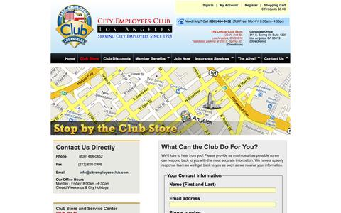 Screenshot of Contact Page Maps & Directions Page cityemployeesclub.com - Contact the Club - captured Oct. 22, 2014