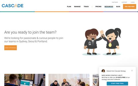 Screenshot of Jobs Page executestrategy.net - Careers at Cascade - Cascade Strategy - captured June 21, 2018