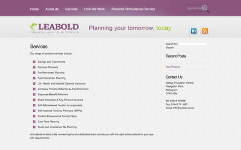 Screenshot of Services Page leabold.co.uk - Services |  Leabold Financial Management - captured Jan. 27, 2016