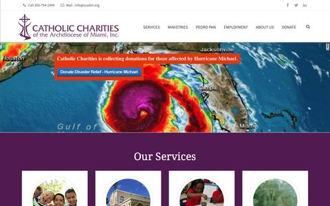 Screenshot of Home Page ccadm.org - Catholic Charities of the Archdiocese of Miami, Inc. - captured Nov. 10, 2018