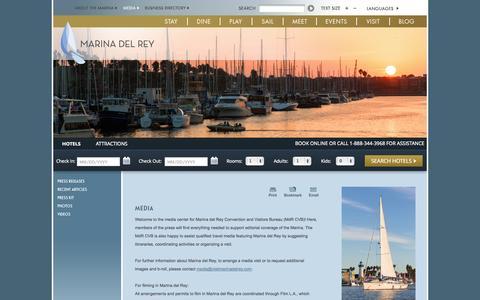 Screenshot of Press Page visitmarinadelrey.com - Marina del Rey California | Press Releases | Media and Filming Contacts - captured Sept. 25, 2014