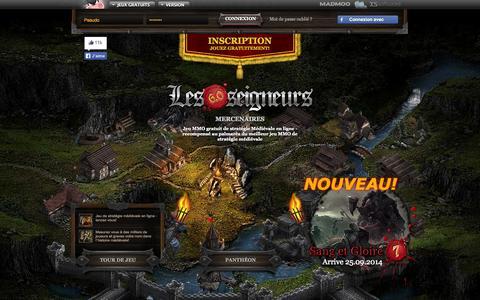 Screenshot of Home Page lesseigneurs.fr - Jeu MMO Strarégie enligne gratuit, Jeu MMORPG sans téléchargement - Jeu Online - captured Sept. 19, 2014