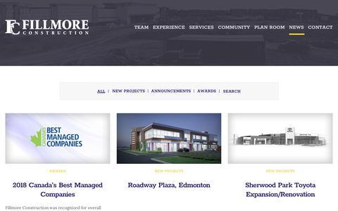 Screenshot of Press Page fillmoreconstruction.com - Edmonton Alberta Construction Company | Fillmore Construction - captured Aug. 13, 2018