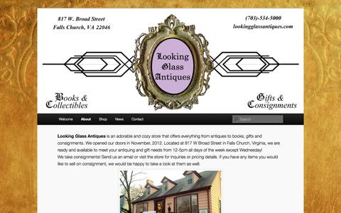 Screenshot of About Page lookingglassantiques.com - About | Looking Glass Antiques - captured Sept. 30, 2014