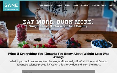 Screenshot of Home Page sanesolution.com - SANESolution  Weight Loss 2.0: Eat More. Burn More. - captured Oct. 20, 2015