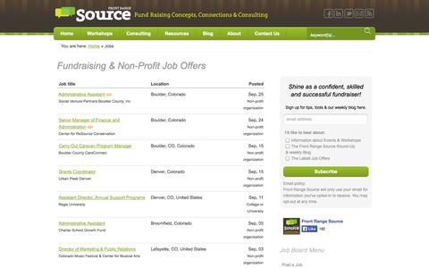 Screenshot of Jobs Page frontrangesource.com - Fundraising & Non-Profit Job Offers - captured Sept. 30, 2014