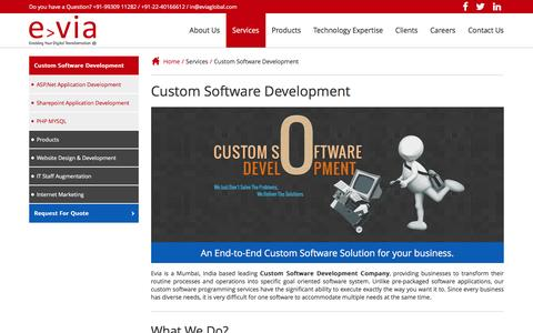 Screenshot of Services Page eviaglobal.com - Custom Software Development Company, Custom Application Software Development, India - captured May 22, 2017