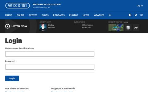 Screenshot of Login Page wixx.com - Login | 101 WIXX | Your Hit Music Station | Green Bay, WI - captured Dec. 1, 2016