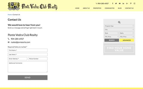 Screenshot of Contact Page pvclubrealty.com - Contact Us - Ponte Vedra Club Realty - captured Aug. 14, 2017