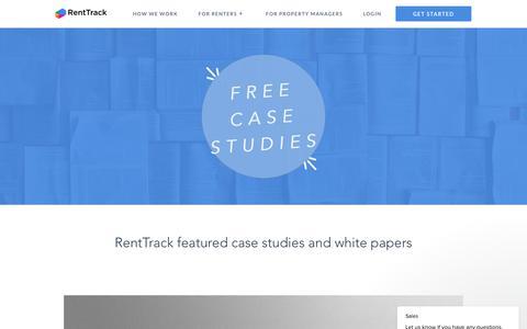 Screenshot of Case Studies Page renttrack.com - Sales says… - captured Sept. 20, 2018