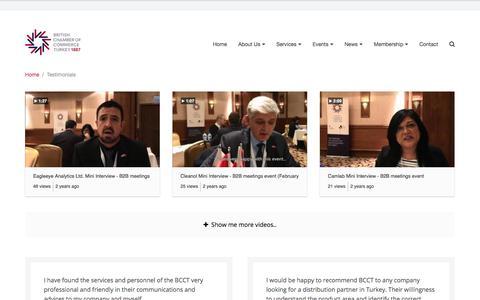 Screenshot of Testimonials Page bcct.org.tr - Testimonials • British Chamber of Commerce Turkey - captured Oct. 22, 2017
