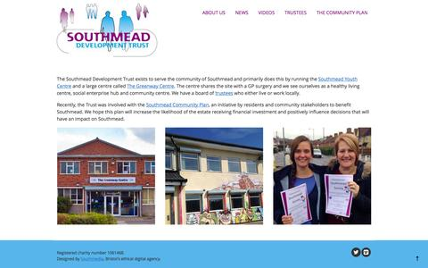 Screenshot of Home Page southmead.org - Home - The Southmead Development Trust - captured Feb. 15, 2016