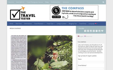 Screenshot of Press Page thetraveltester.com - Media Coverage - captured Jan. 11, 2016
