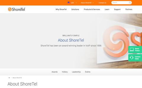 Screenshot of About Page shoretel.com - About ShoreTel: An Award Winning Leader in VoIP - captured July 4, 2016
