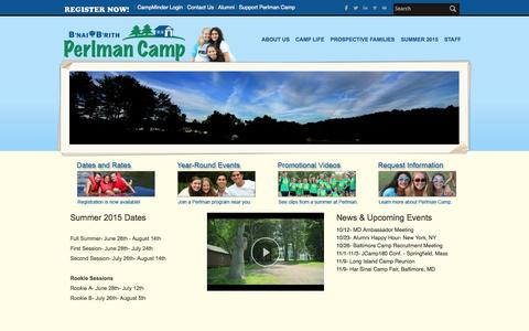 Screenshot of Home Page Privacy Page perlmancamp.org - B'nai B'rith Perlman Camp - Home - captured Oct. 2, 2014