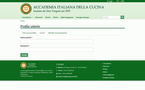 Screenshot of Login Page accademia1953.it - Profilo utente   Accademia Italiana della Cucina - captured Oct. 2, 2018