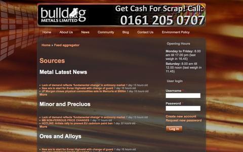 Screenshot of Press Page bulldogmetals.co.uk - Sources | Bulldog Metals Ltd Manchester - Specialists in recycling all non ferrous metals - captured Oct. 5, 2014