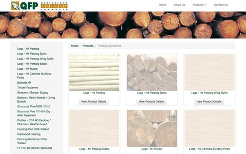 Screenshot of Products Page qfp.com.au - QFP Product Range - Queensland Forestry Products Wholesale Product Range - captured June 15, 2016