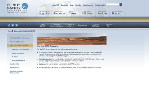 Screenshot of Signup Page flightsafety.org - Join the BARS Program | Flight Safety Foundation - BARS Program - captured Sept. 25, 2014